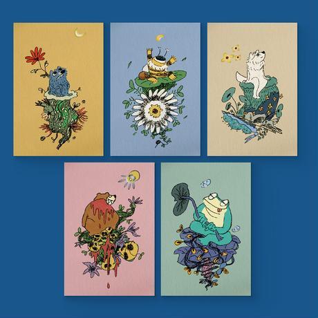 箔押しポストカード 描き下ろしセット(全5種類 オリジナル封筒入り)